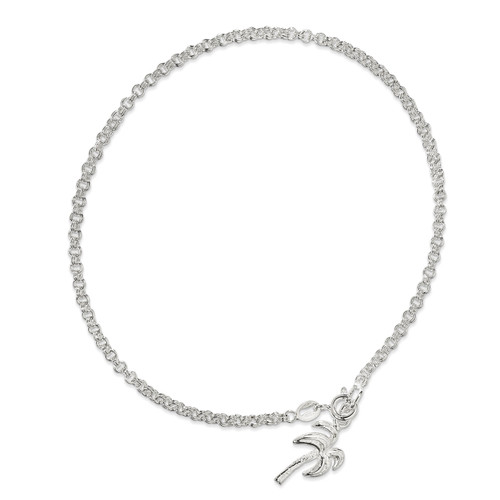 10 Inch Palm Tree Anklet Sterling Silver Solid Polished QG433-10