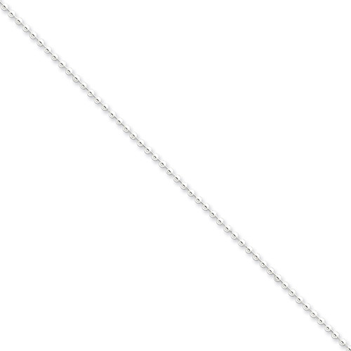18 Inch 2mm Beaded Necklace Sterling Silver QK27-18