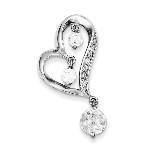 Dangles Heart Slide Sterling Silver Diamond QP2080