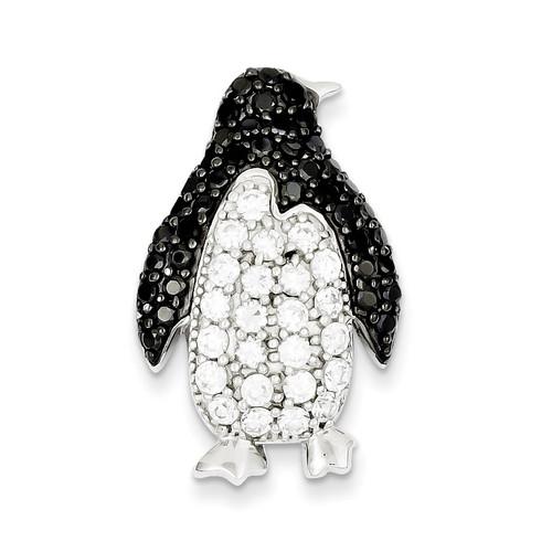 Black & White Diamond Penguin Slide Sterling Silver QP2106