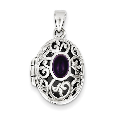 Amethyst Locket Sterling Silver QP228