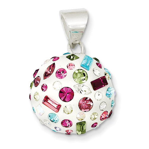 Multi-Stellux Crystal & White Round Pendant Sterling Silver QP2545