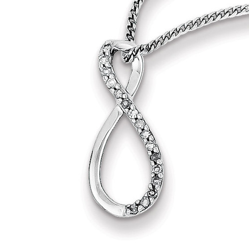 Accent Infinity Necklace Sterling Silver Rhodium-plated Diamond MPN: QP3451