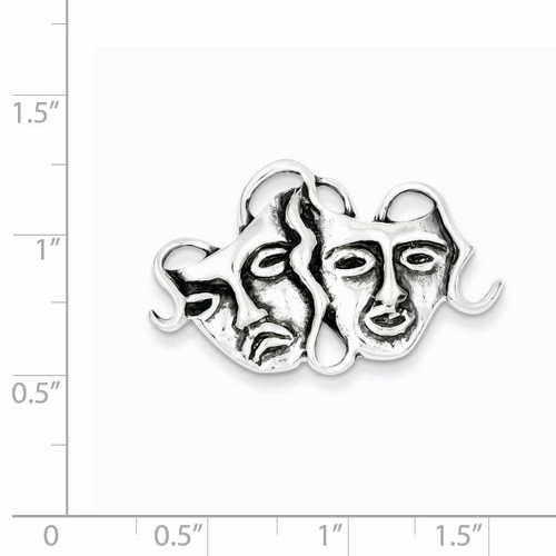 Comedy tragedy Pin Antiqued Sterling Silver QP50