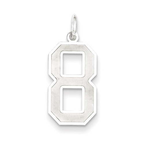 Number 8 Pendant Sterling Silver Satin QPP08