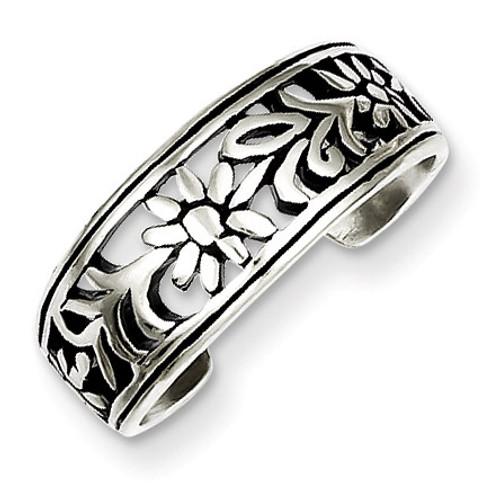 Flower Toe Ring Antiqued Sterling Silver QR1917