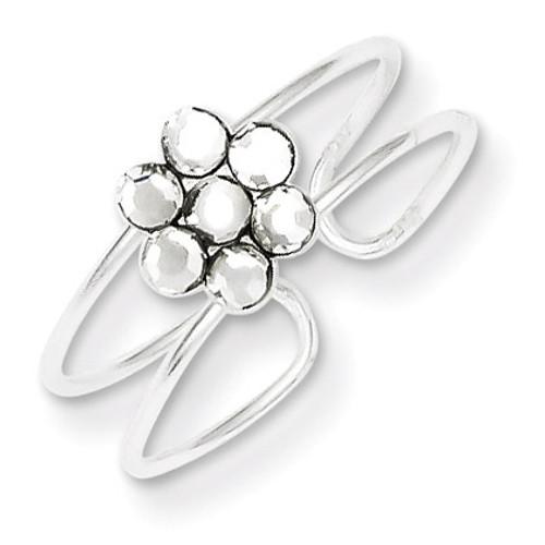 Flower Toe Ring Sterling Silver Diamond QR1920