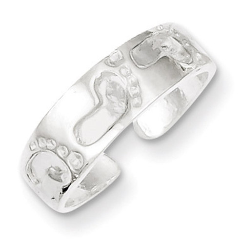 Foot Print Toe Ring Sterling Silver QR625