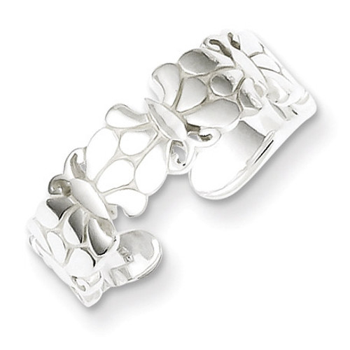 Butterflies Toe Ring Sterling Silver Polished QR766
