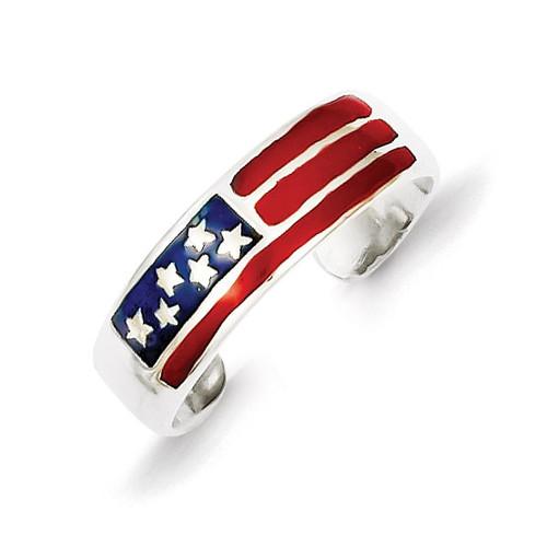 Flag Toe Ring Sterling Silver Enameled QR780