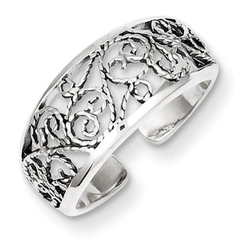 Floral Toe Ring Antiqued Sterling Silver QR787