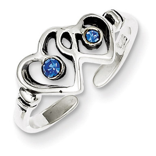 Blue Diamond Heart Toe Ring Antiqued Sterling Silver QR820