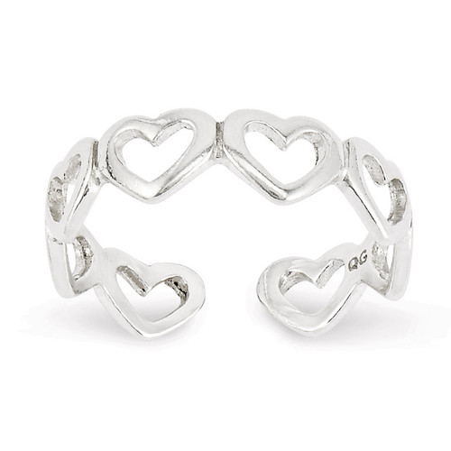 Cut-out Hearts Toe Ring Sterling Silver QR830