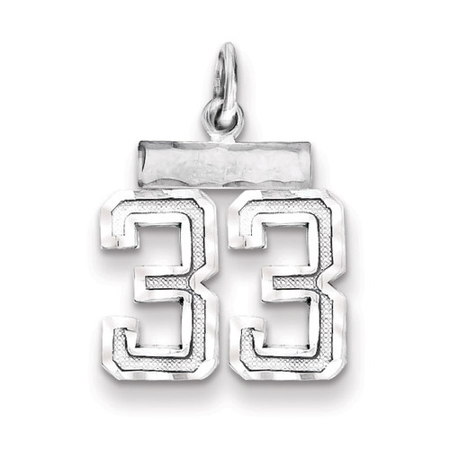 Number 33 Charm Sterling Silver QSN33