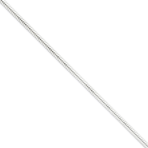 8 Inch 3.00mm Round Snake Chain Sterling Silver QSNL080-8