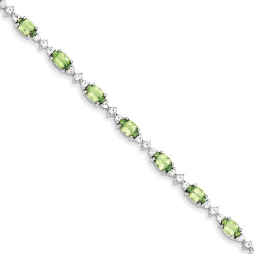 Peridot White Topaz Bracelet Sterling Silver QX854PE