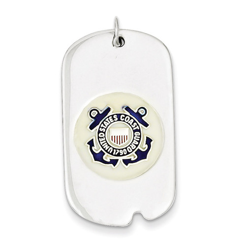 US Coast Guard Dog Tag Sterling Silver XSM136