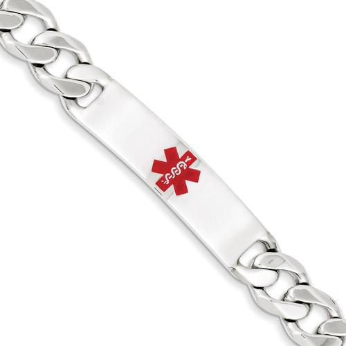 8.5 Inch Medical Curb Link ID Bracelet Sterling Silver Polished XSM175-8.5