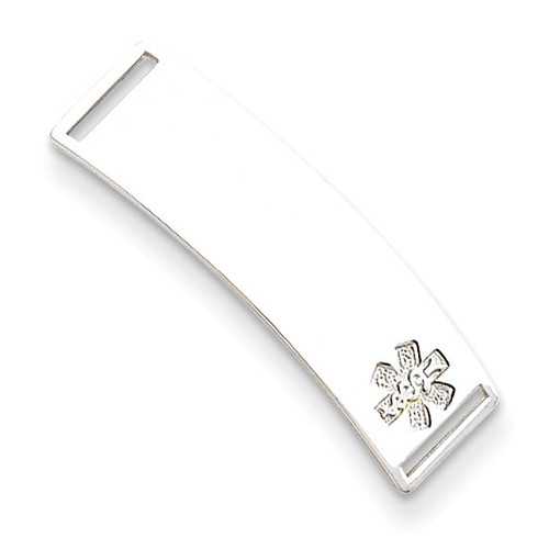Non-enameled Medical ID Plate Sterling Silver XSM66N