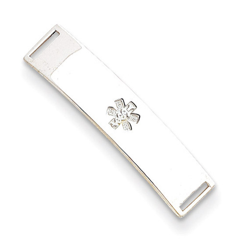 Non-enameled Medical ID Plate Sterling Silver XSM71N