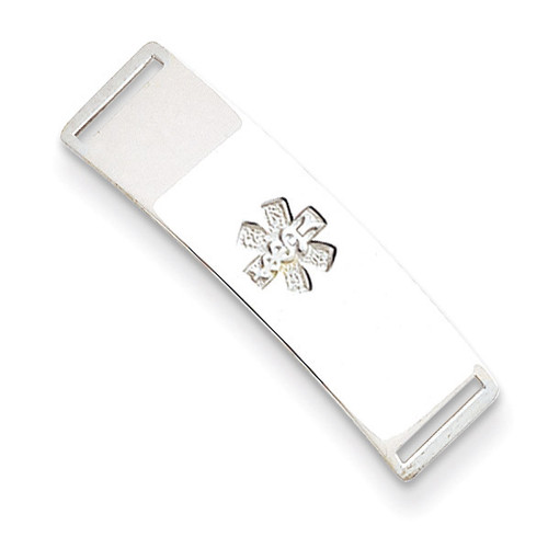 Non-enameled Medical ID Plate Sterling Silver XSM72N