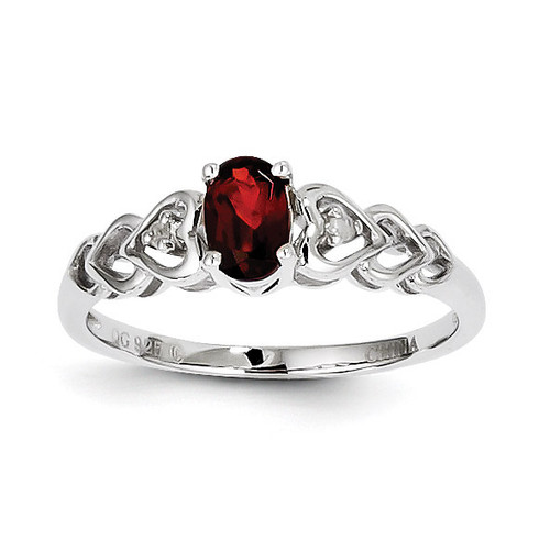 Garnet & Diamond January Ring Sterling Silver QBR23JAN
