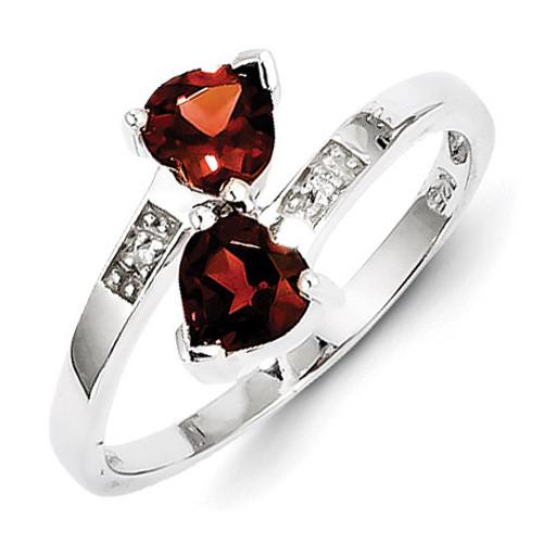 Garnet & Diamond Heart Ring Sterling Silver Rhodium MPN: QDX594