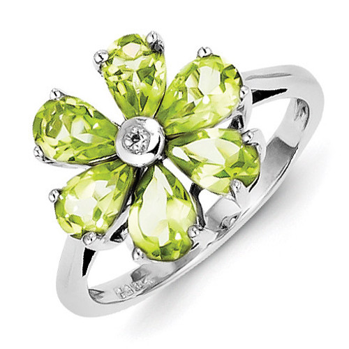 Peridot & Diamond Flower Ring Sterling Silver Rhodium QDX810