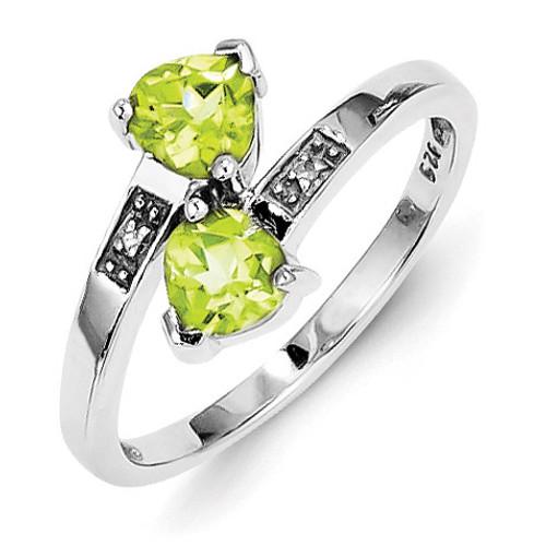Peridot & Diamond Heart Ring Sterling Silver Rhodium MPN: QDX811