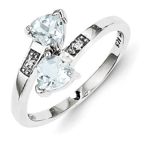 Aqua & Diamond Heart Ring Sterling Silver Rhodium MPN: QDX880