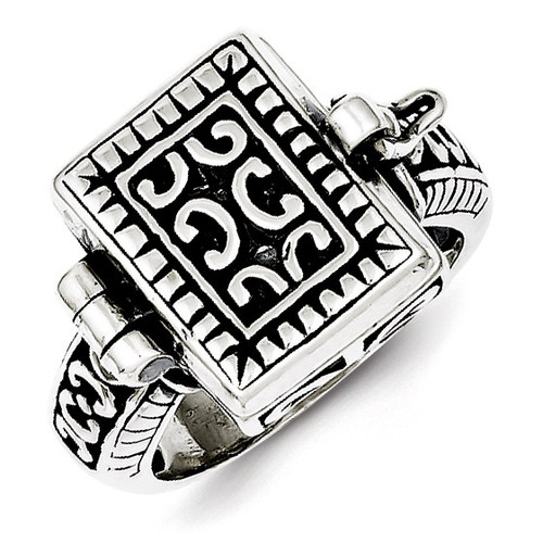 Antique Locket Ring Sterling Silver QR1764