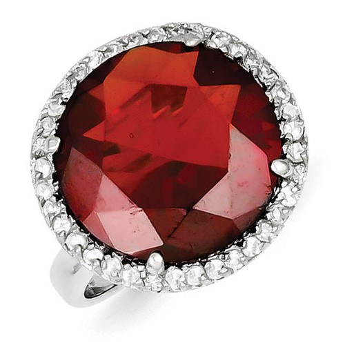 Clear & Red Diamond Ring Sterling Silver MPN: QR2191