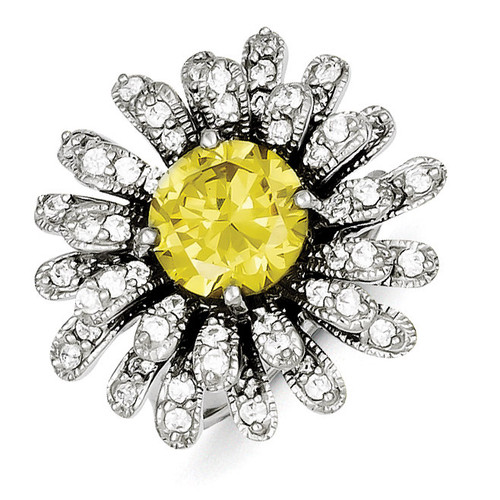 Yellow & Clear Diamond Ring Sterling Silver MPN: QR2206