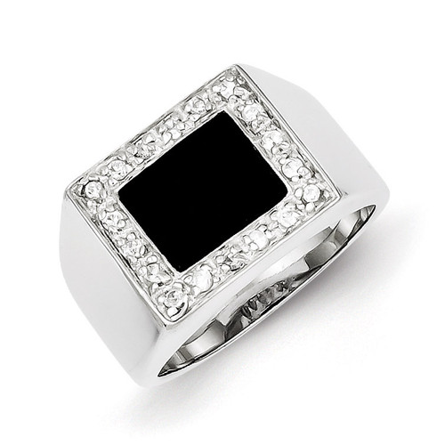 Men's Diamond & Onyx Ring Sterling Silver MPN: QR2458