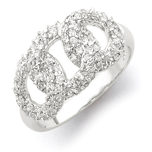 Three Interlocking Diamond Circles Ring Sterling Silver Polished QR2748