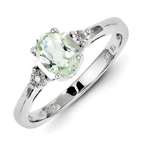 Green Quartz Ring Diamond Sterling Silver MPN: QR4541AG