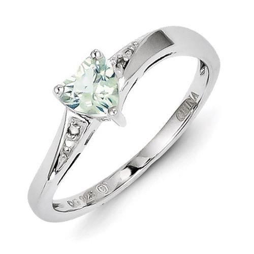 Green Quartz Diamond Ring Sterling Silver MPN: QR4555AG