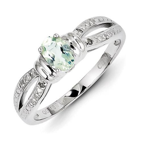Green Quartz Diamond Ring Sterling Silver MPN: QR4556AG
