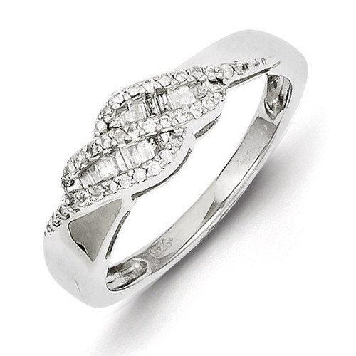 0.21ct Diamond Baguette Swirl Ring Sterling Silver QR4828