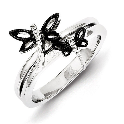 Black Rhodium-plated Dragonfly Ring Sterling Silver Diamond QR5758
