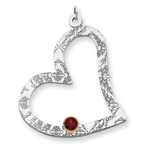 1 Birthstone Bezel Family Crystal Heart Pendant Sterling Silver & 14k Gold QMP2/1G