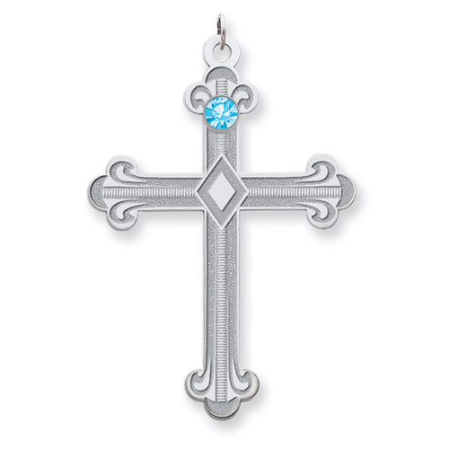 1 Birthstone Family Crystal Cross Pendant Sterling Silver QMP3/1SS