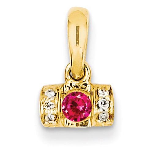 1 Birthstone Family Jewelry Diamond Semi-Set Pendant 14k Yellow Gold XMP44/1