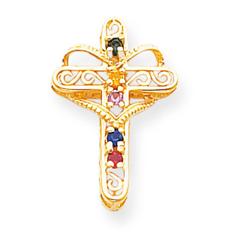 5 Birthstones Filigree Mothers Cross Pendant 14k Gold Polished XMP5/5