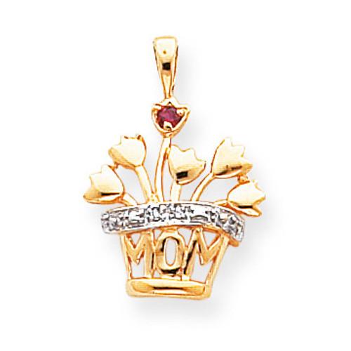 1 Birthstone 2mm Grade AA Diamond Family Jewelry Pendant 14k Gold XMP7/1SY/AA
