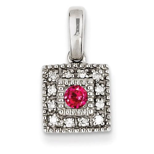 1 Birthstone Family Jewelry Diamond Semi-Set Pendant 14k White Gold XMPW41/1
