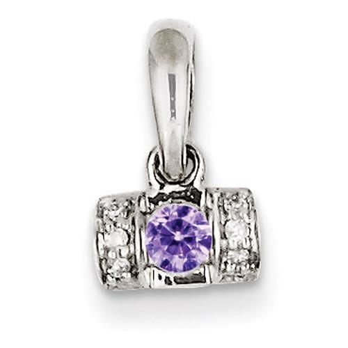 1 Birthstone Family Jewelry Diamond Semi-Set Pendant 14k White Gold XMPW44/1