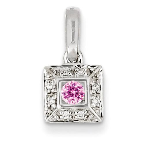 1 Birthstone Family Jewelry Diamond Semi-Set Pendant 14k White Gold XMPW46/1