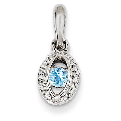 1 Birthstone Family Jewelry Diamond Semi-Set Pendant 14k White Gold XMPW47/1