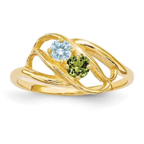 2 Birthstones Mothers Ring 14k Gold Polished XMR1/2